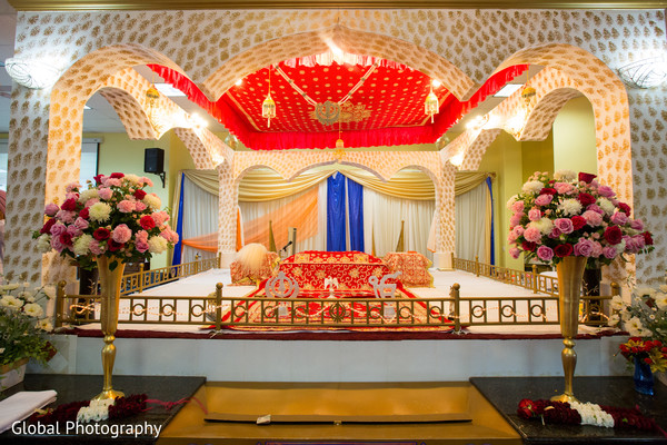Ceremony decor in Visalia, CA Sikh Wedding by Global Photography