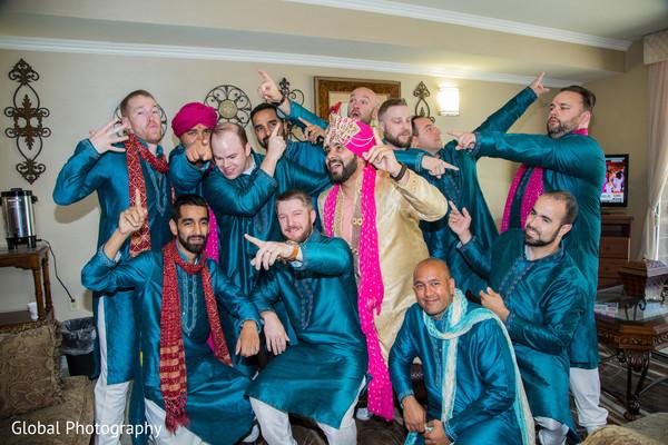 Groom and groomsmen in Visalia, CA Sikh Wedding by Global Photography