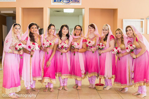 Bridesmaids in Visalia, CA Sikh Wedding by Global Photography