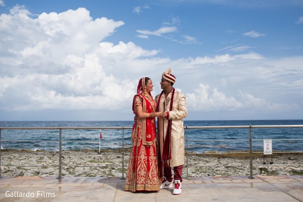 First look portraits in Riviera Maya, Mexico Destination Fusion Indian Wedding by Gallardo Films