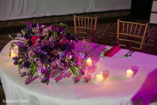 Centerpieces in Riviera Maya, Mexico Destination Fusion Indian Wedding by Gallardo Films