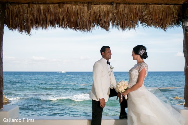 Ceremony in Riviera Maya, Mexico Destination Fusion Indian Wedding by Gallardo Films