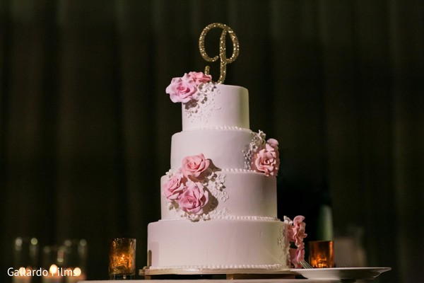 Wedding cake in Riviera Maya, Mexico Destination Fusion Indian Wedding by Gallardo Films