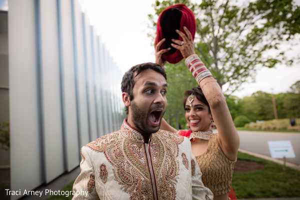 First Look in Durham, NC Sikh Wedding by Traci Arney Photography