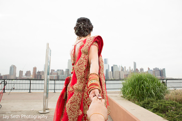 First Look in Carle Place, NY Indian Wedding by Jay Seth Photography
