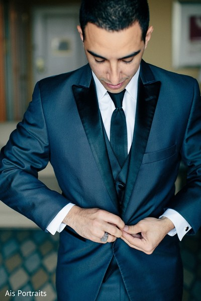 groom getting ready,fusion wedding,fusion indian wedding,suit and tie,groom fashion