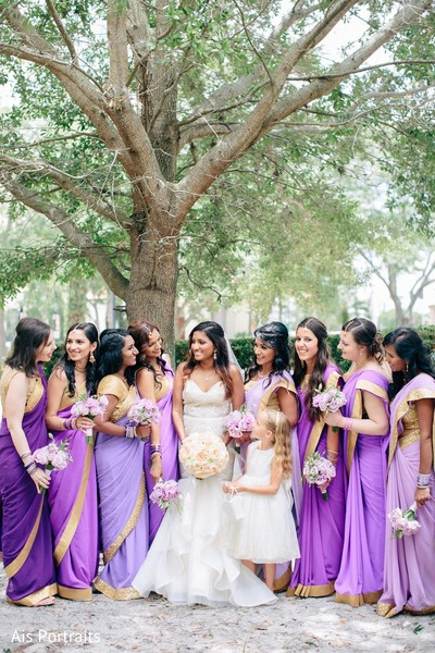 Bridal Party in Orlando, FL Indian Fusion Wedding by Ais Portraits