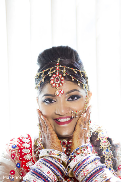 Indian bridal portrait in New York, NY Indian Wedding by MaxPhoto NY