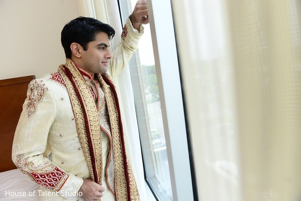 Groom Getting Ready in Woodbury, NY Indian Wedding by House of Talent Studio