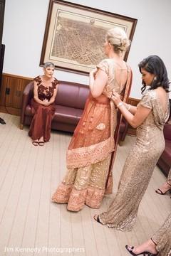 getting ready,fusion wedding,fusion indian wedding