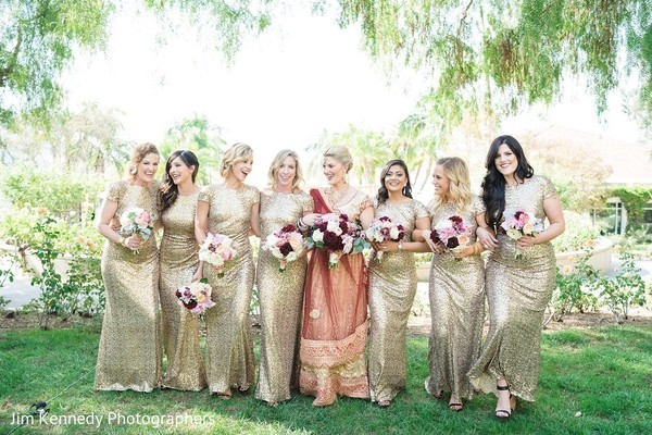 Bridal Party in Yorba Linda, CA Indian Fusion Wedding by Jim Kennedy Photographers