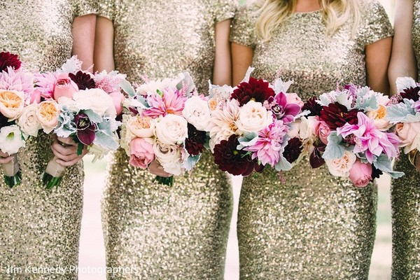 Bridesmaids Bouquets in Yorba Linda, CA Indian Fusion Wedding by Jim Kennedy Photographers