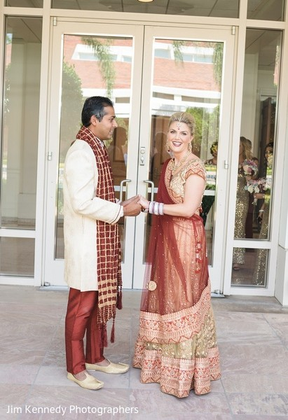 First Look in Yorba Linda, CA Indian Fusion Wedding by Jim Kennedy Photographers