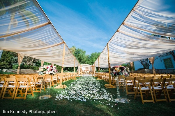 Ceremony Decor in Yorba Linda, CA Indian Fusion Wedding by Jim Kennedy Photographers