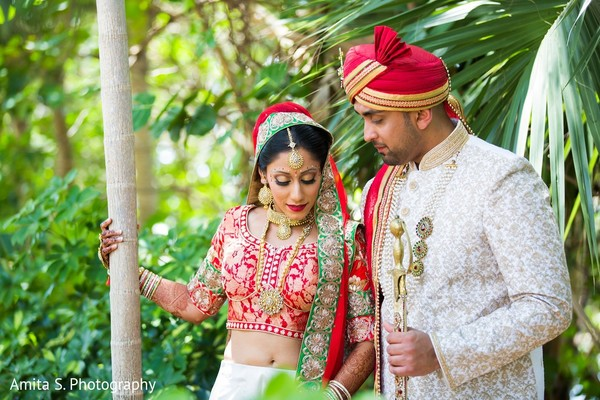 First Look in Fort Lauderdale, FL Indian Wedding by Amita S. Photography