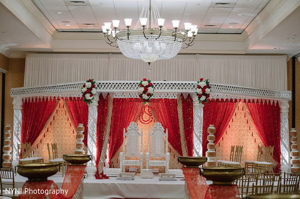 Ceremony decor in Bridgewater, NJ Indian Wedding by NYNJ Photography