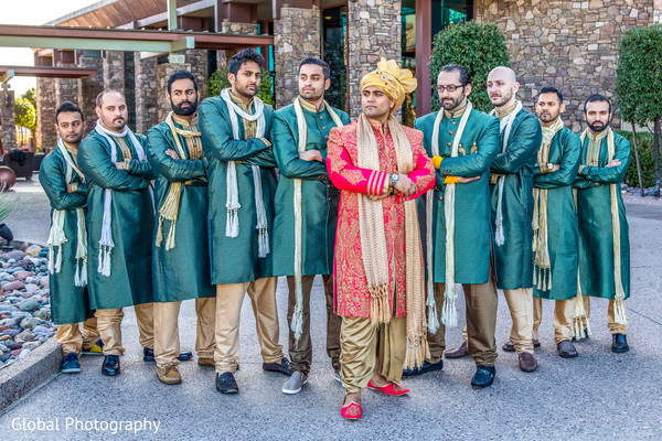 Groomsmen in Scottsdale, AZ Indian Wedding by Global Photography