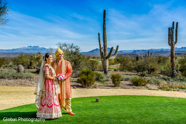First Look in Scottsdale, AZ Indian Wedding by Global Photography