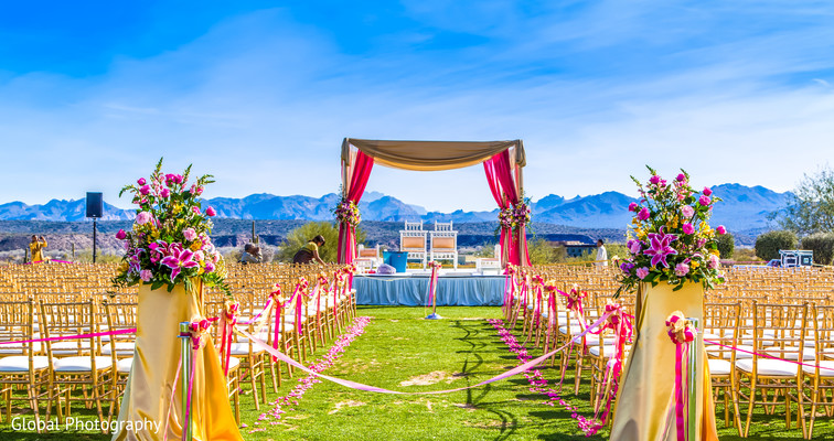 Ceremony Decor in Scottsdale, AZ Indian Wedding by Global Photography