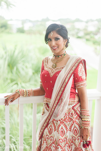 Bridal lengha in Tybee Island, GA Indian Wedding by Garret Frandsen Photography