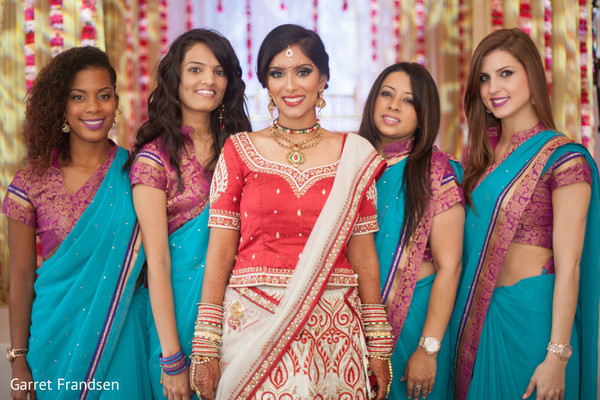 indian bride,indian bridal,indian bridal portrait,bridal party,bridesmaids