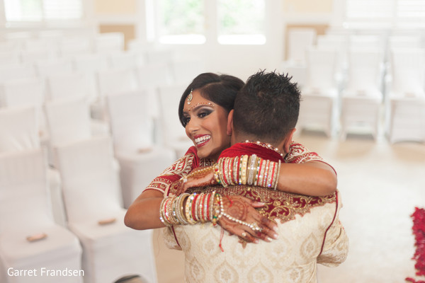 First look in Tybee Island, GA Indian Wedding by Garret Frandsen Photography