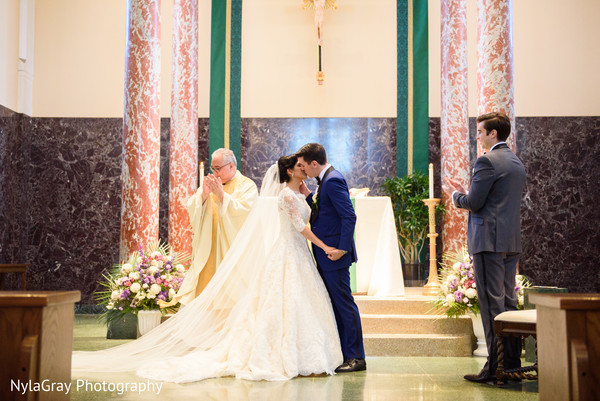 Christian ceremony in Glen Head, NY Indian Fusion Wedding by NylaGray Photography