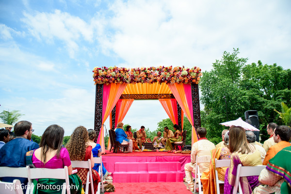 Ceremony decor in Glen Head, NY Indian Fusion Wedding by NylaGray Photography