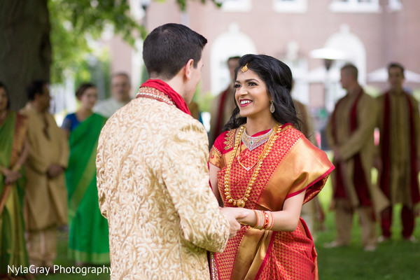 First look in Glen Head, NY Indian Fusion Wedding by NylaGray Photography
