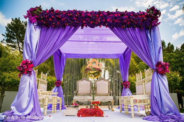 Ceremony Decor in Los Angeles, CA Indian Wedding by Lin & Jirsa Photography