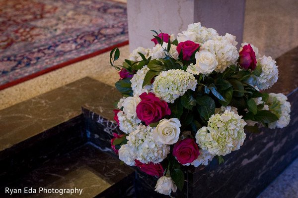 Ceremony decor in Edison, NJ Indian Wedding by Ryan Eda Photography