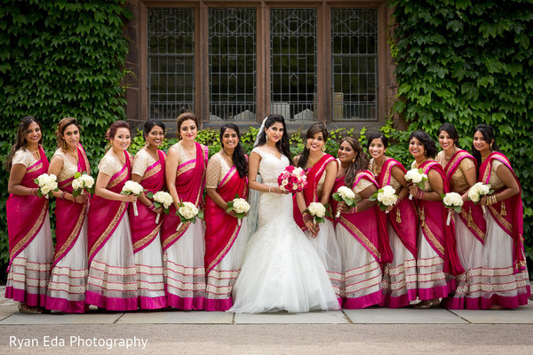 Bridal party in Edison, NJ Indian Wedding by Ryan Eda Photography