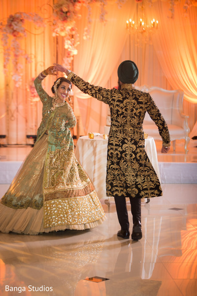 wedding reception,reception,south asian wedding reception,indian wedding reception,sikh wedding,first dance,open shirt lengha