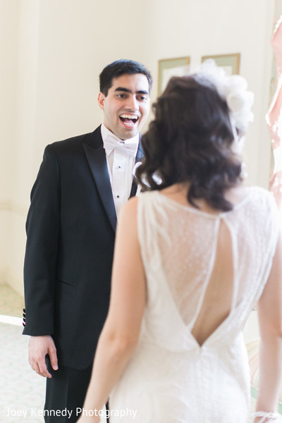 First Look in Pittsburgh, PA Hindu-Jewish Fusion Wedding by Joey Kennedy Photography