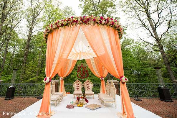 Ceremony decor in Chantilly, VA Indian Fusion Wedding by Photographick Studios