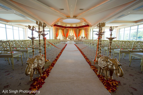 Ceremony decor in New Rochelle, NY Indian Fusion Wedding by Ajit Singh Photography