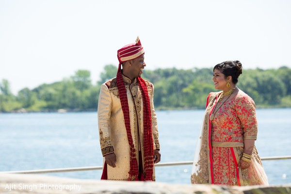 First look in New Rochelle, NY Indian Fusion Wedding by Ajit Singh Photography