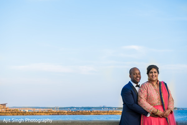 Reception portrait in New Rochelle, NY Indian Fusion Wedding by Ajit Singh Photography