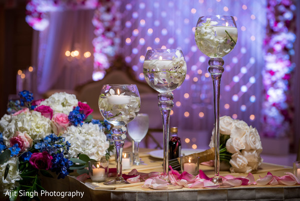 Reception floral and decor in New Rochelle, NY Indian Fusion Wedding by Ajit Singh Photography