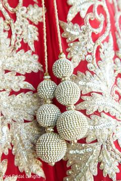 Closeup Red Bridal Lengha