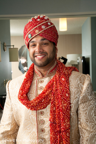Groom Red in Chicago, IL Indian Wedding by Edward Fox Photography