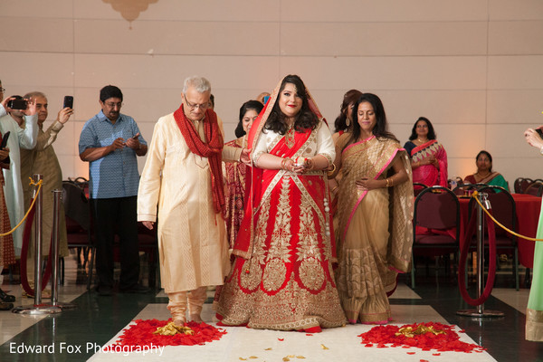 Bridal walking down Aisle in Chicago, IL Indian Wedding by Edward Fox Photography