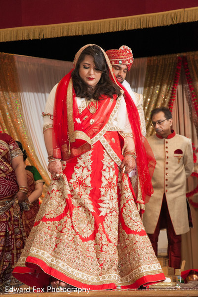 Red Bridal Lengha in Chicago, IL Indian Wedding by Edward Fox Photography