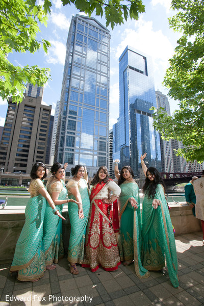 Bridesmaids Saris in Chicago, IL Indian Wedding by Edward Fox Photography