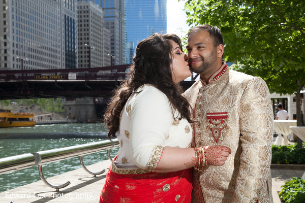 Bride and Groom Portrait in Chicago, IL Indian Wedding by Edward Fox Photography