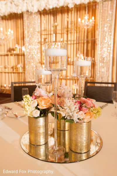 Simple Floral Centerpiece in Chicago, IL Indian Wedding by Edward Fox Photography