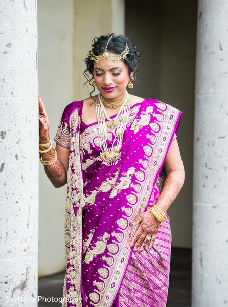 Bengali bride with purple sari in Dripping Springs, TX Fusion Wedding by Svetlana Photography
