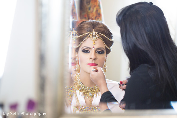 Bride getting ready in Rockleigh NJ Indian Wedding by Jay Seth Photography