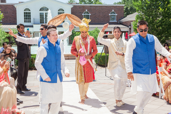 Groom's entrance in Rockleigh NJ Indian Wedding by Jay Seth Photography