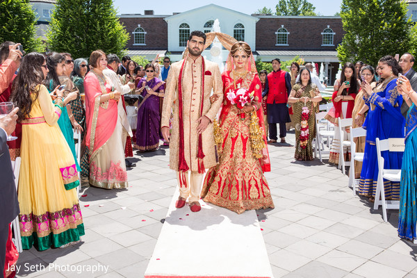 Bride's entrance in Rockleigh NJ Indian Wedding by Jay Seth Photography